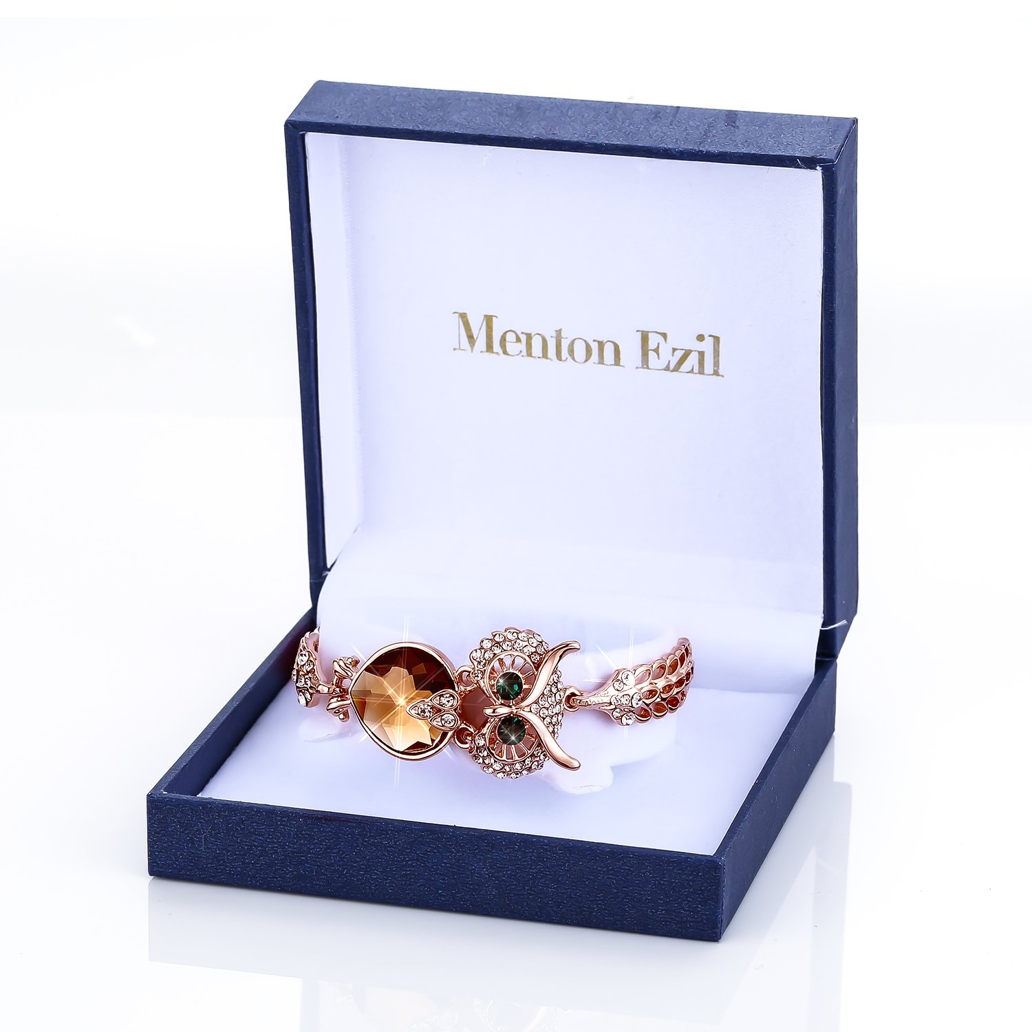 Menton Ezil Lucky Owl Bracelets With Turquoise Jewelry Charms Antique Golden Rhinestone Crystal for Womens Girls Gifts by Menton Ezil (Image #6)