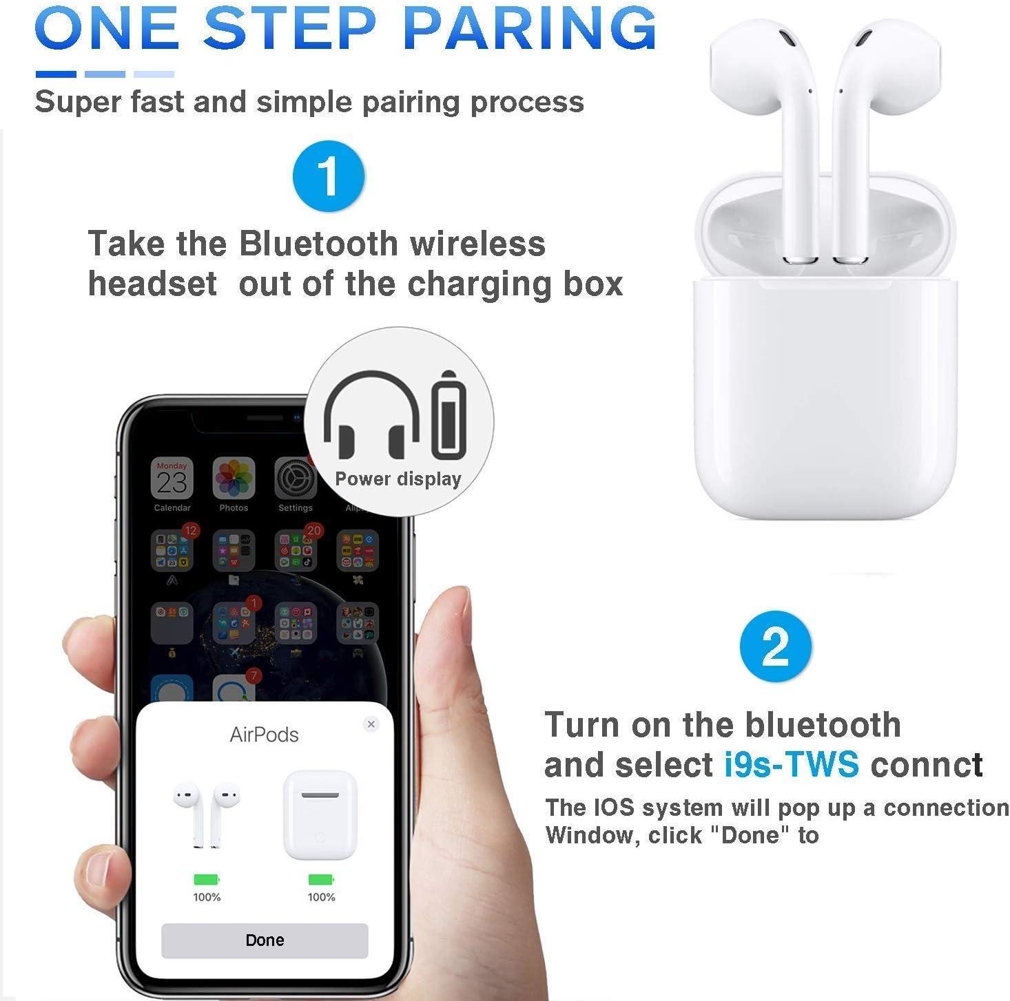 Bluetooth Kopfh/örer 5.0 Noise Cancelling Drahtloses In-Ear Bluetooth Headset 3D Stereo IPX7 Wasserdicht Automatische Kopplung Schnellladung f/ür Apple//AirPods//AirPods Pro//Android//iPhone