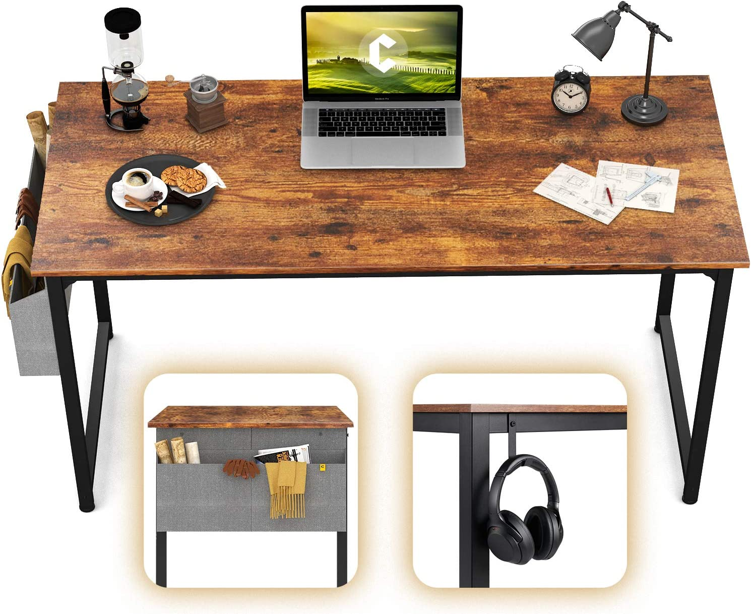 "CubiCubi Computer Desk 47"" Study Writing Table for Home Office, Industrial Simple Style PC Desk, Black Metal Frame, Rustic"