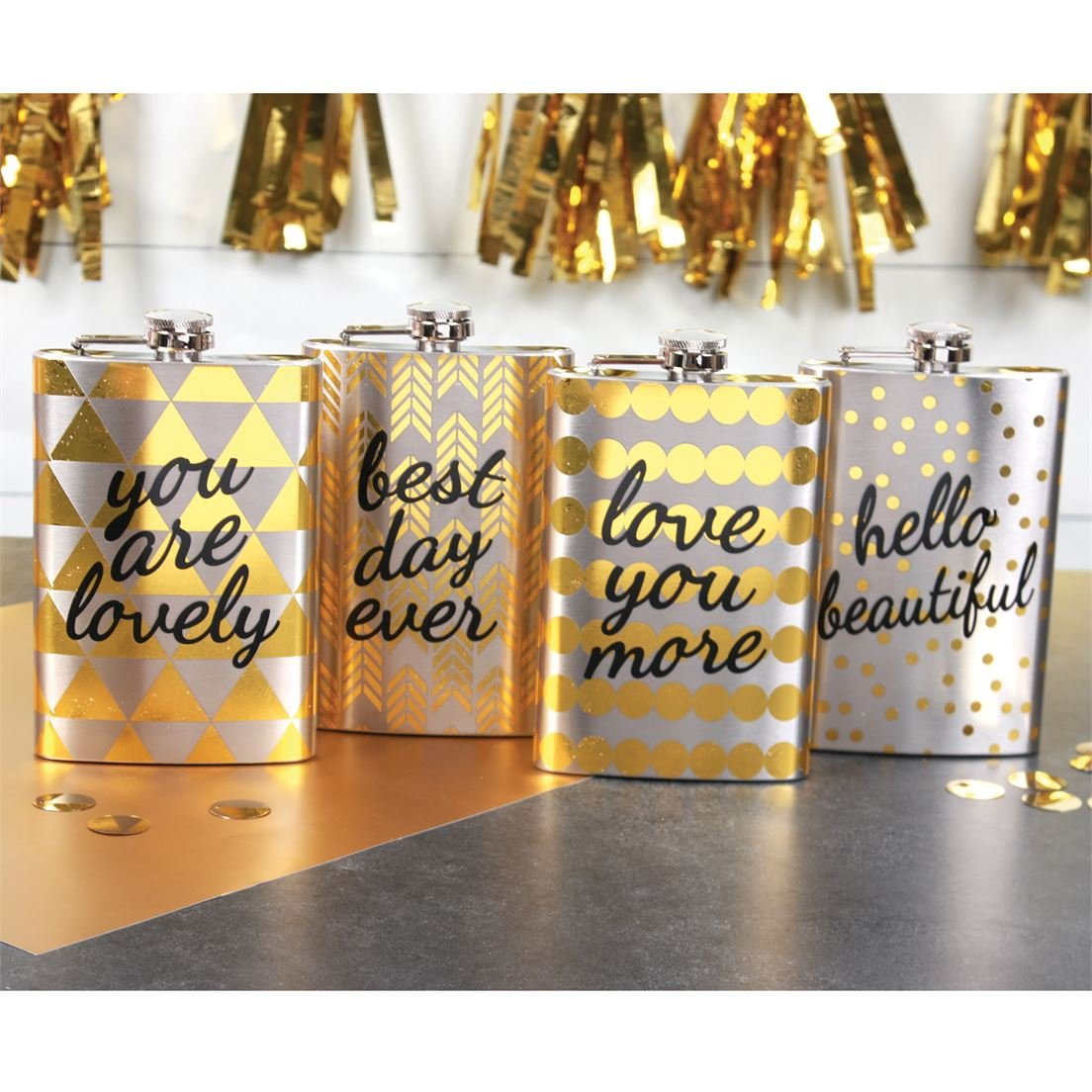 Best Day Ever Silver /& Gold Foil Fun Sayings Stainless Steel 8oz Flask in a Gift Box Great for Weddings//Parties