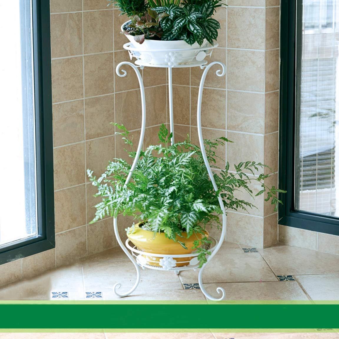 HLQW Flower Rack Multi Piano Interno in Ferro Art Soggiorno in Camera da Letto per balconi Impianto per Piante Fiori Verdi per Fiori (Colore   bianca, Dimensione   33  80cm)