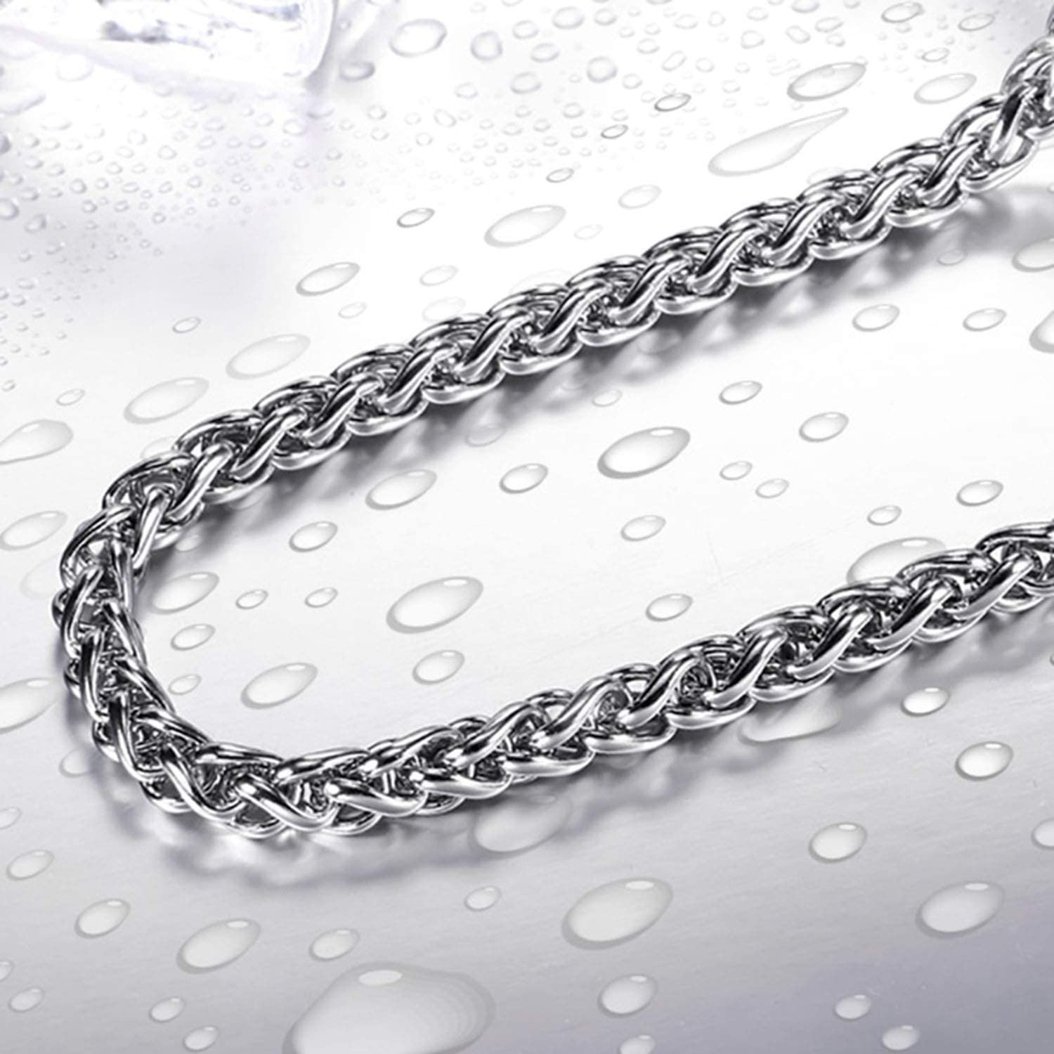 BAVAHA 316L Stainless Steel Trendy Chain Width 3mm//4mm//5mm Necklace boy Man Necklace Chain Silver Colour Fashion Jewelry 6mm Width,60cm 24inch
