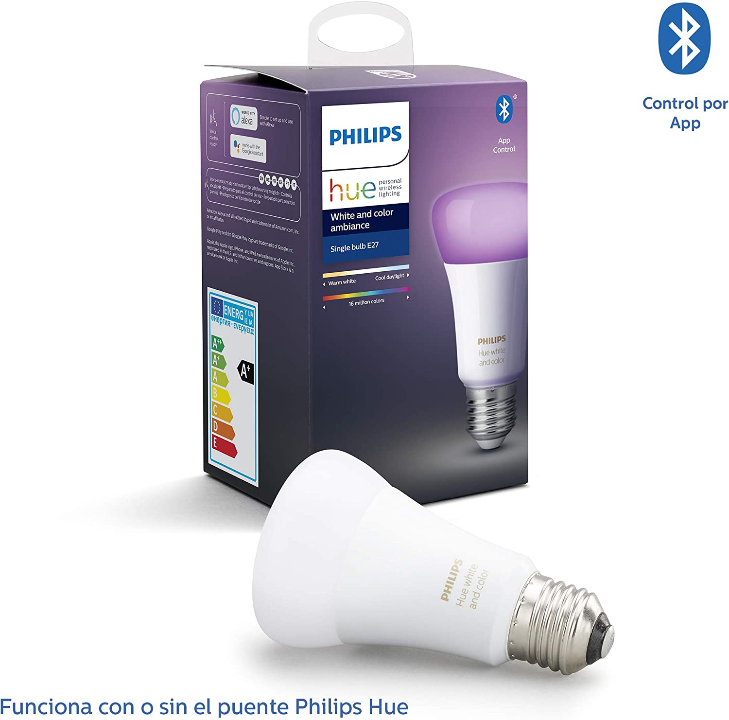 Philips Hue Bombilla Inteligente LED E27, con Bluetooth, Luz ...