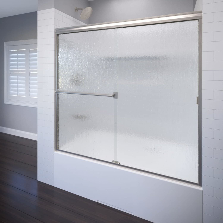 Basco Shower Door CLCH05A6057RNBN Classic sliding bathtub shower door, Brushed Nickel