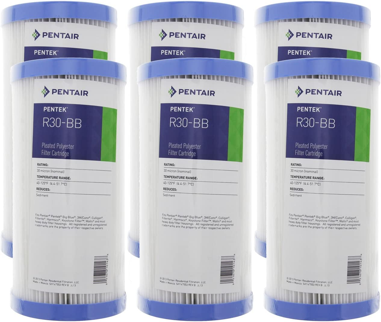 """(Package Of 6) Pentek R30-BB Pleated Polyester Water Filters (9-3/4"""" x 4-1/2"""")"""