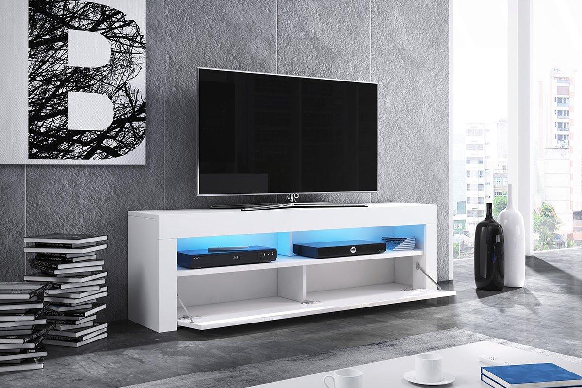Mobile porta TV//Supporto TV//Mobile TV audio e video Alan 160 cm, nero opaco//pannelli frontali nero lucido con luci LED blu opzionali