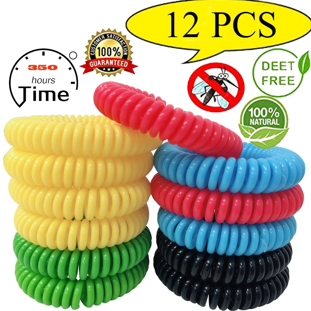 12 Pack Mosquito Repellent Bracelet,100% Natural Bug Repellent Bracelet 350Hrs of protection Control Insect Bug Repelle bug spray for kids,Women,Men