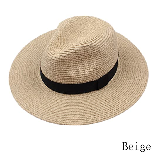 Amazon.com  nboba New Fashion Summer Straw Men s Sun Hats Trilby Cap Summer  Beach Cap Panama Hat Sombrero Travel Sunhat BG  Clothing b1406503a6e