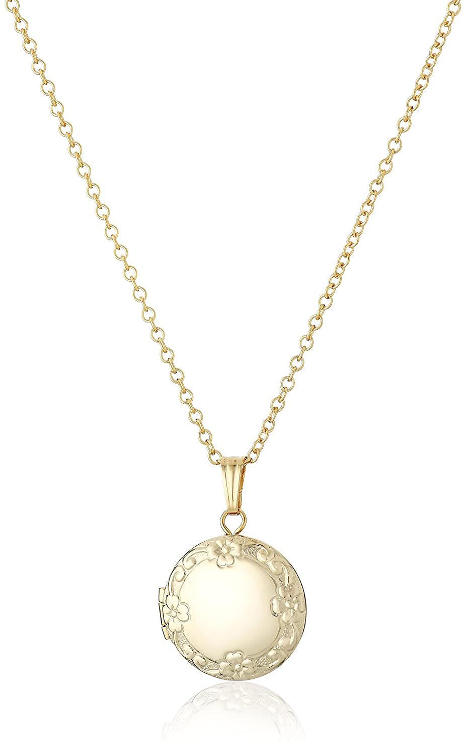 Children's 14k Gold-Filled Petite Embossed Edge Round Locket Necklace Marathon Company AMZA923M