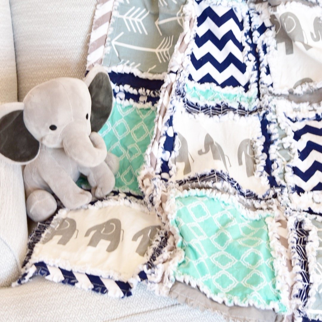 Image of Elephant Blanket - Mint/Gray/Navy - QUILT Only Home and Kitchen