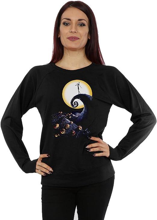 TALLA L. Disney Mujer Nightmare Before Christmas Cemetery Camisa de Entrenamiento