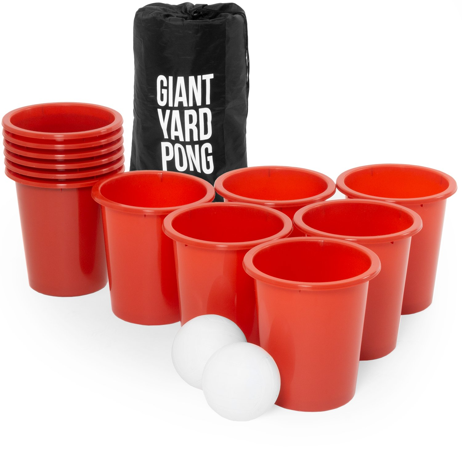 Play Platoon Giant Yard Pong Set - 12 Buckets & 2 Balls for Lawn Beer Pong Game