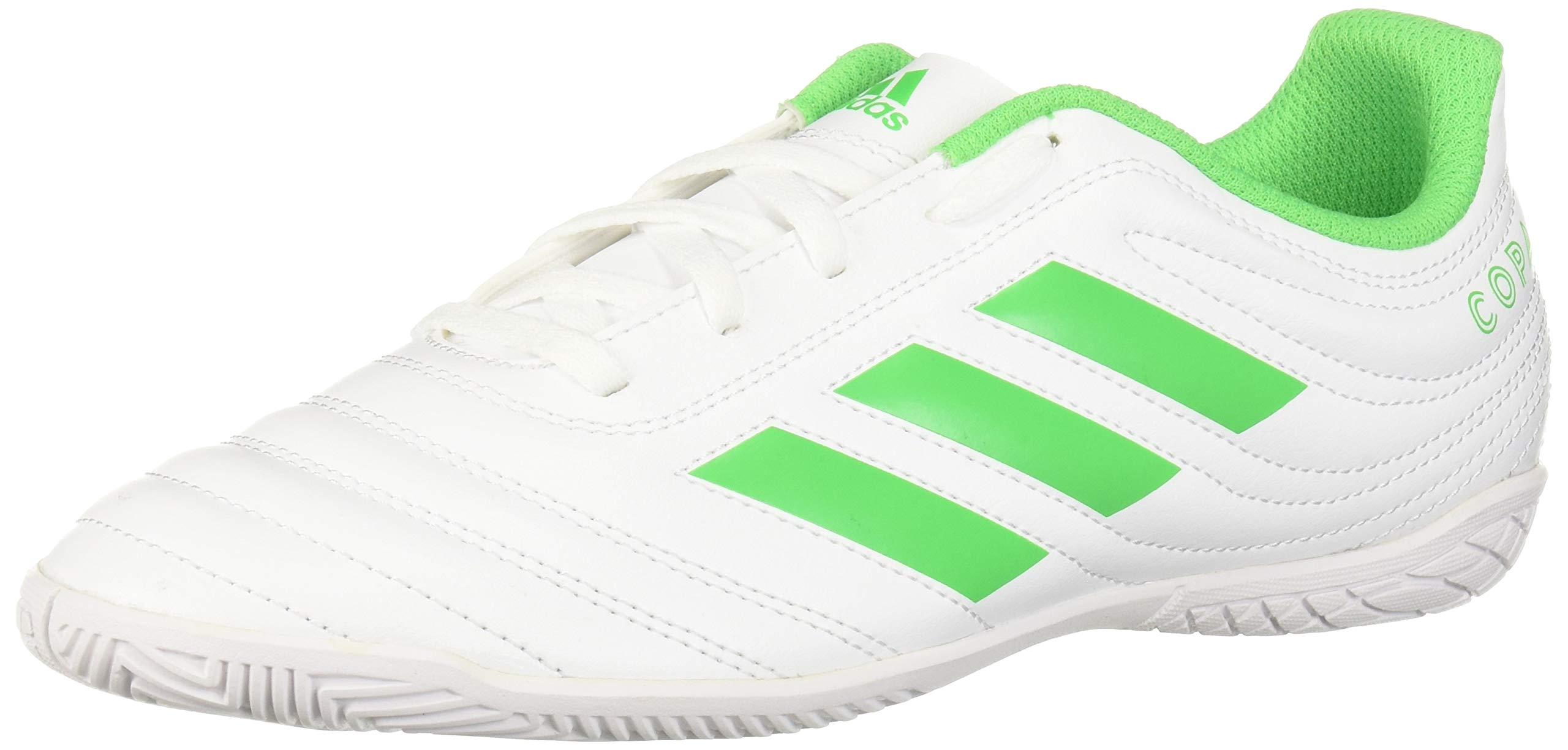 adidas Unisex Copa 19.4 Indoor Soccer Shoe White/Solar Lime/White, 3 M US Little Kid