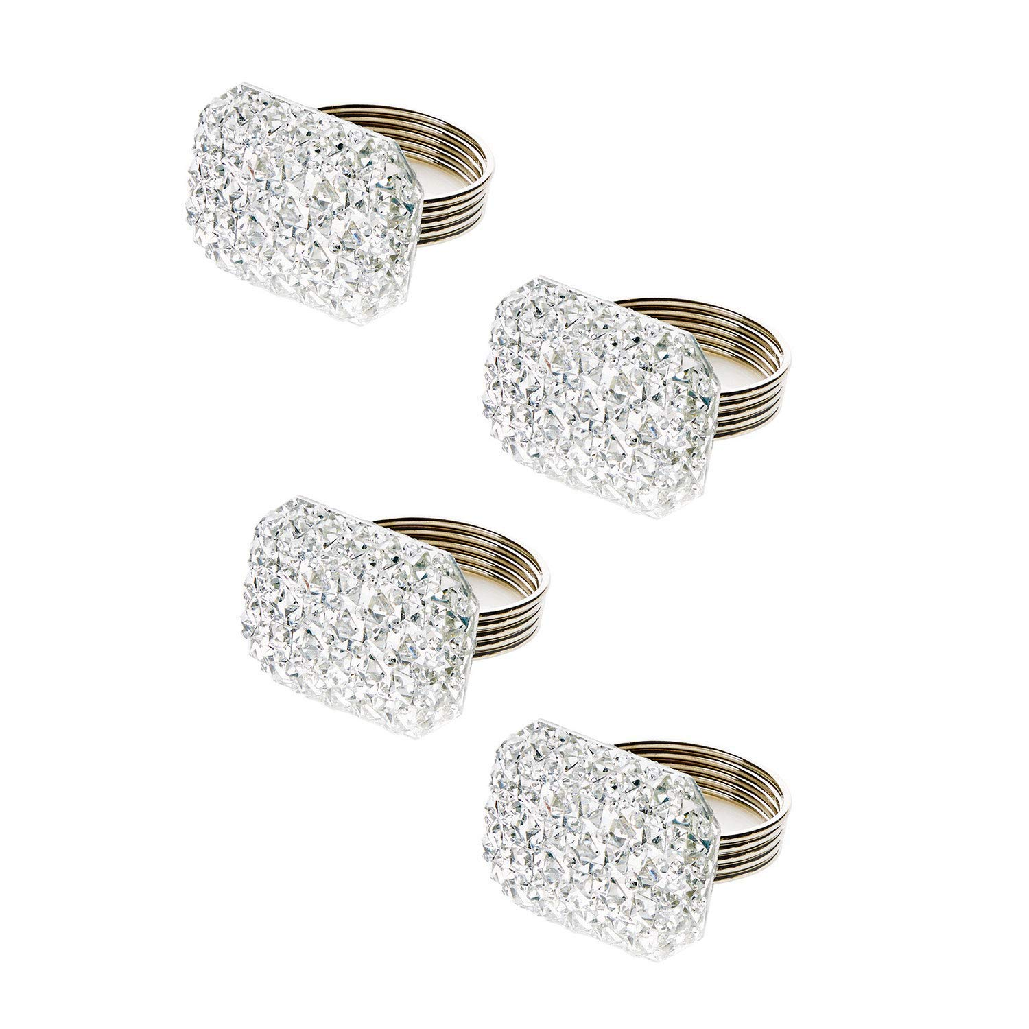TRIXES Napkin Rings Rectangular Shape Silver with Rhinestones - Set of 4 – Perfect for Christmas Table Placement XMS155
