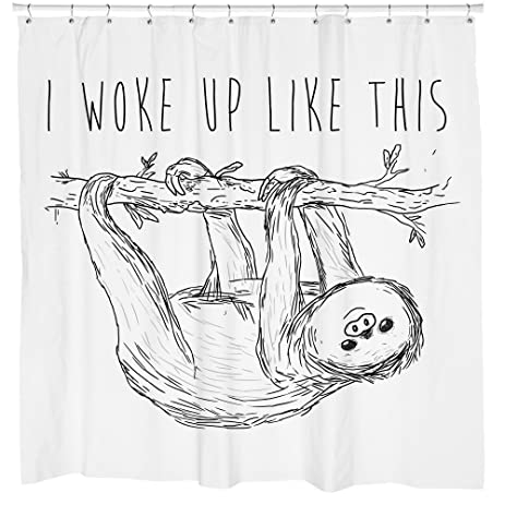 Beyonce Sloth Shower Curtain Woke Up Like This Gift For Girlfriend Unique Bathroom Accessories
