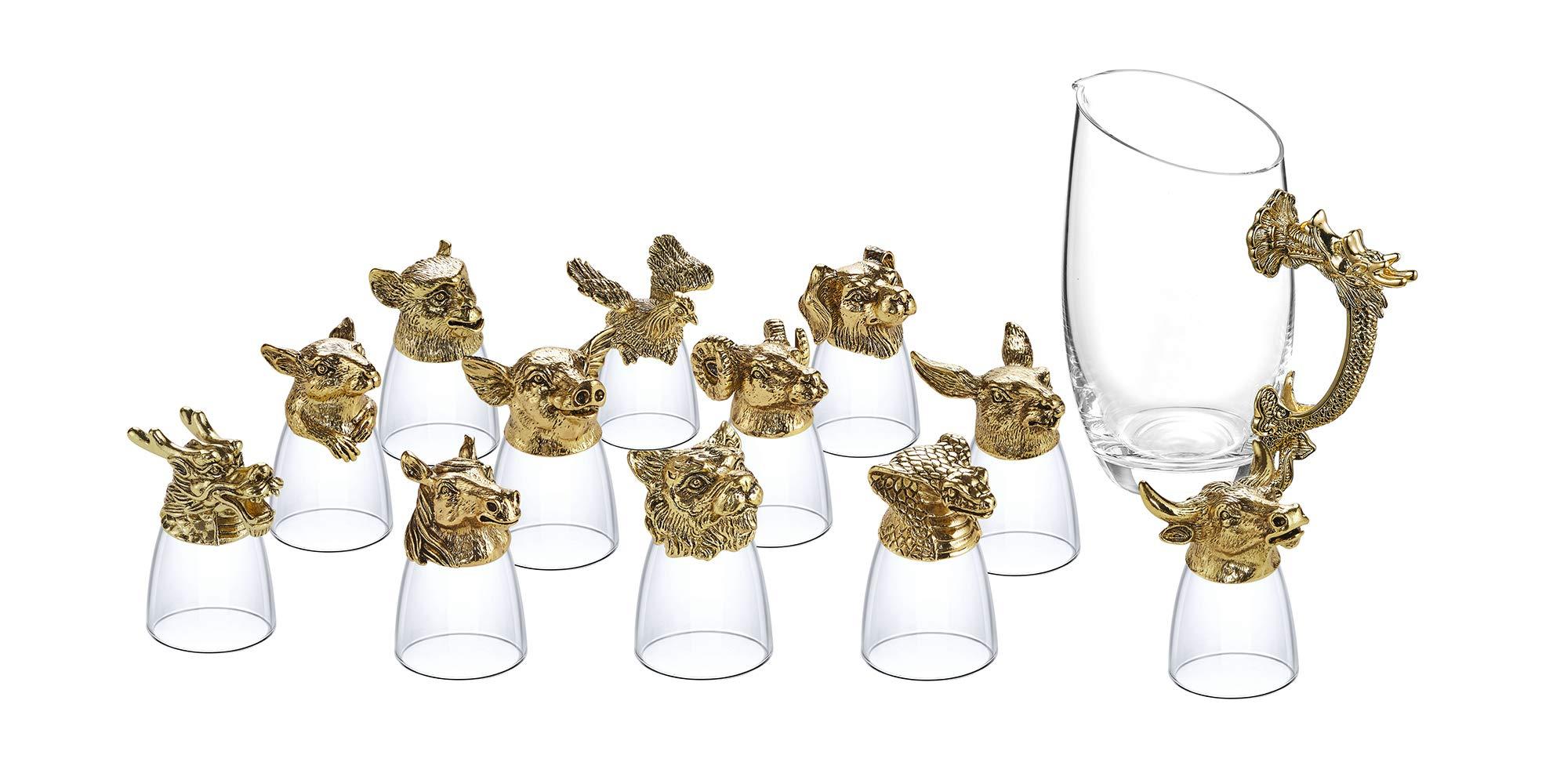 Shot Glasses Set of 13, Crystal Animal Head Shot Glasses Set 12x 0.85oz Shot Glasses 1x 14oz Carafe by NOSHMAN