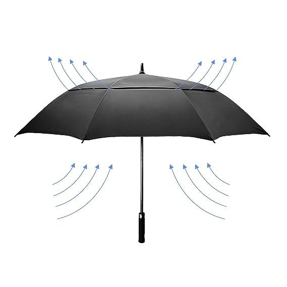 dmkaka 61 Inch Auto abierto paraguas extra grande doble dosel paraguas de Golf, resistente al viento y impermeable paraguas, negro: Amazon.es: Deportes y ...