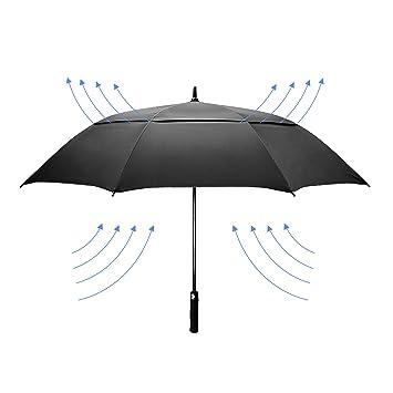 dmkaka 61 Inch Auto abierto paraguas extra grande doble dosel paraguas de Golf, resistente al