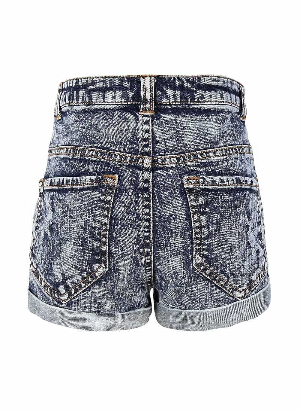 Bienzoe Girls Summer Denim High Waist Holes Ripped Jeans