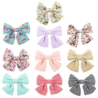 """Oaoleer 10pcs 3.5"""" Fabric Ribbon Hair Bows with Clips for Baby Toddler Girls Teens"""