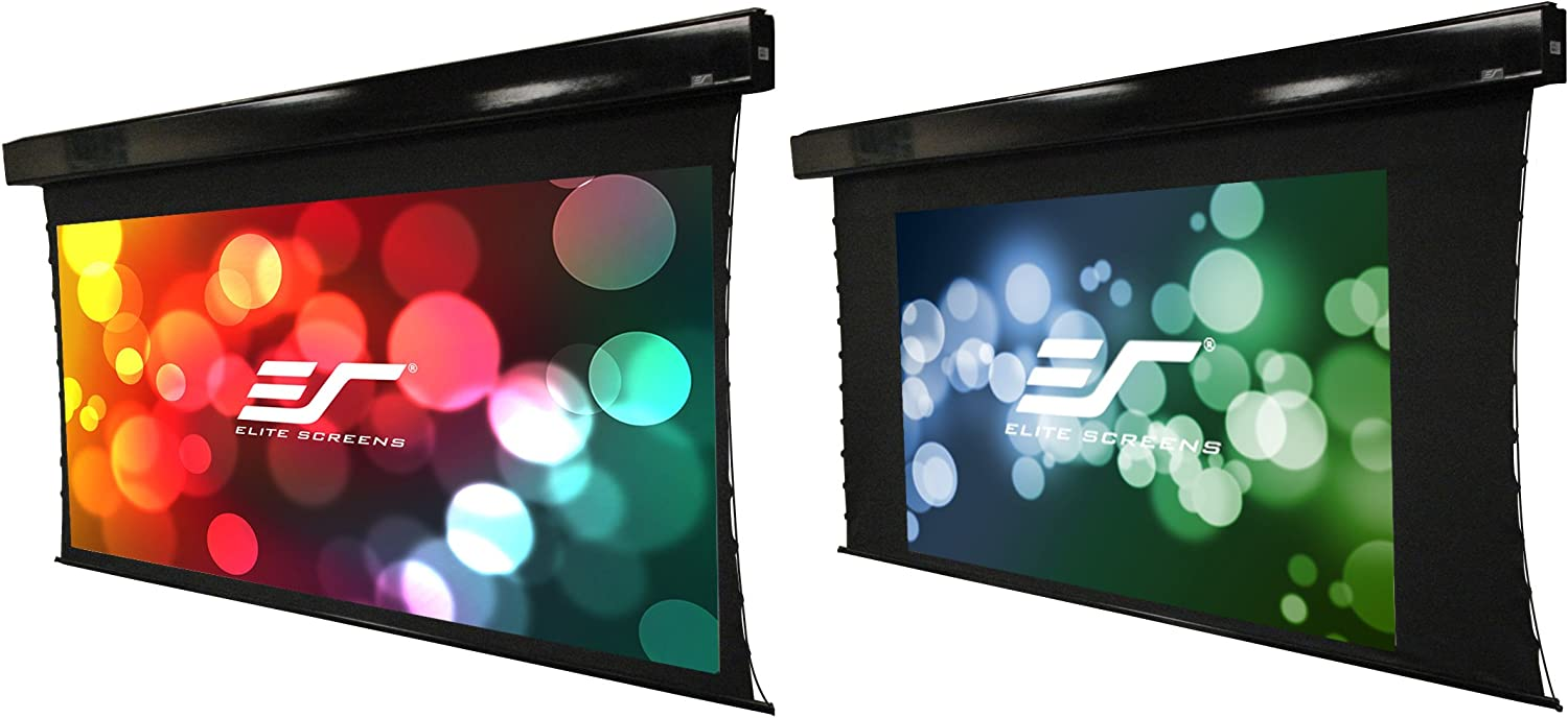 Amazon Com Elite Screens Vmax Tab Tension Dual 110 2 35 1 88 16 9 Dual Format Wall Ceiling Motorized Cinema Projector Screen With 20 Drop Vmaxt110c88h E20 Home Audio Theater