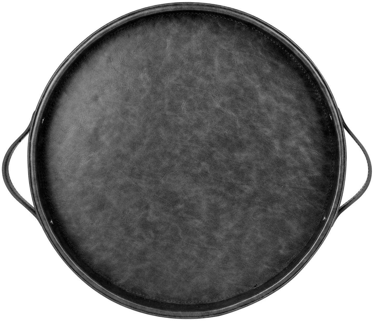 HofferRuffer Top Nocth PU Leather Round Serving Tray, Decorative Serving Tray with Handles, Coffee Tray, Ottoman Tray for Home Or Office, Diameter 14.6-inch (Dark Grey)