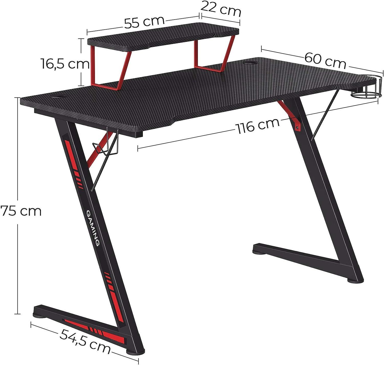 einfache Montage Computertisch multifunktional SONGMICS Gaming Tisch Z-f/örmiges Stahlgestell mit Monitorst/änder schwarz-rot LGD001B01 mit Halter f/ür Kopfh/örer und Trinkglas