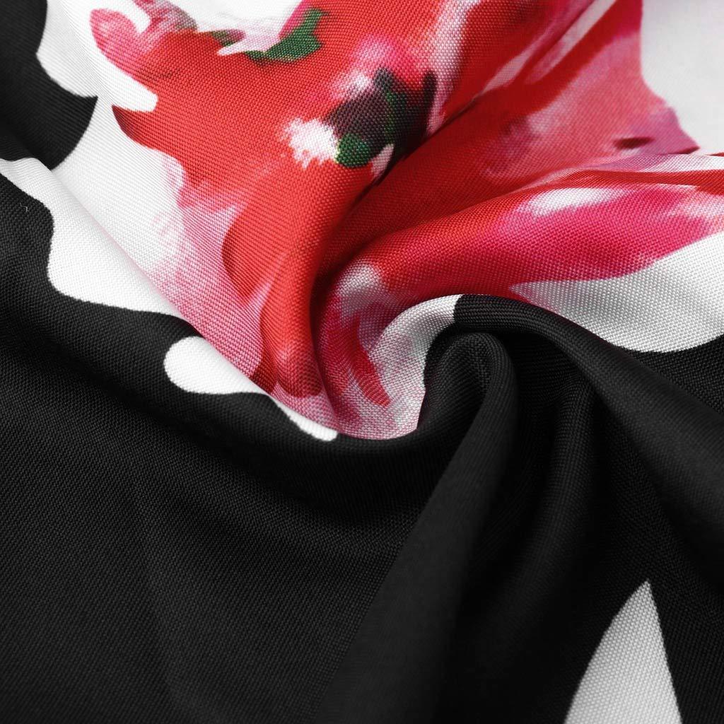 GOKOMO Mode Frauen Blumendruck V-Ausschnitt Langarm-Shirts Beil/äufige lose Blusen Tops