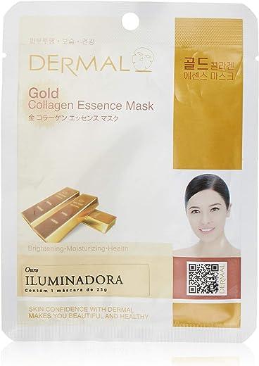DERMAL Gold Collagen Essence Facial Mask Sheet 23g Pack of 10 - Anti Aging & Moisturizing, Deep Tissue Rejuvenation, Daily Skin Treatment Solution Sheet Mask