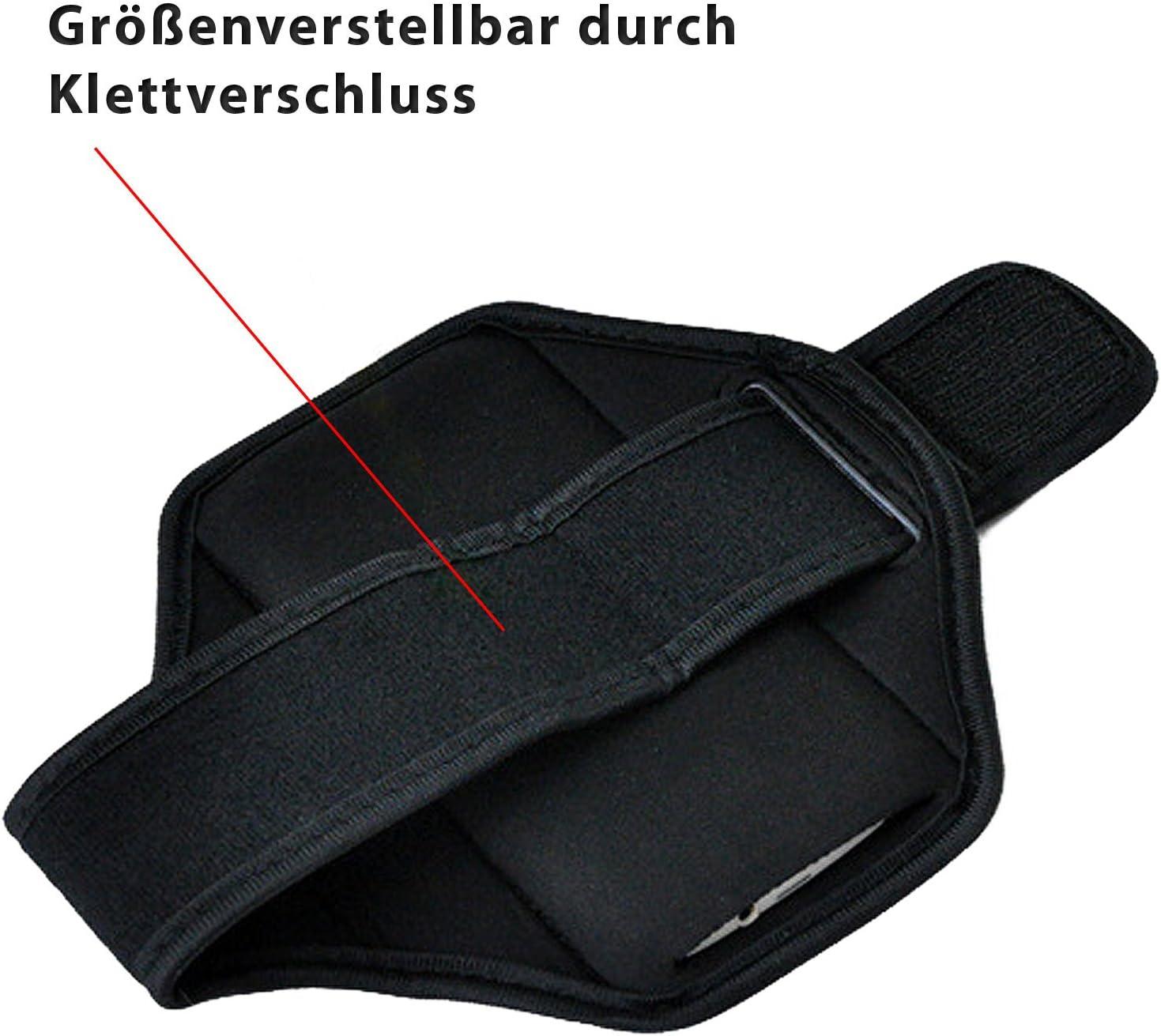 Sportarmband M EximMobile Armband Sportband schwarz Universelles Fitnessarmband passend f/ür Displays bis zu 5 Zoll   Handyarmband Laufen Oberarmtasche Joggen Folie f/ür HTC One Mini 2