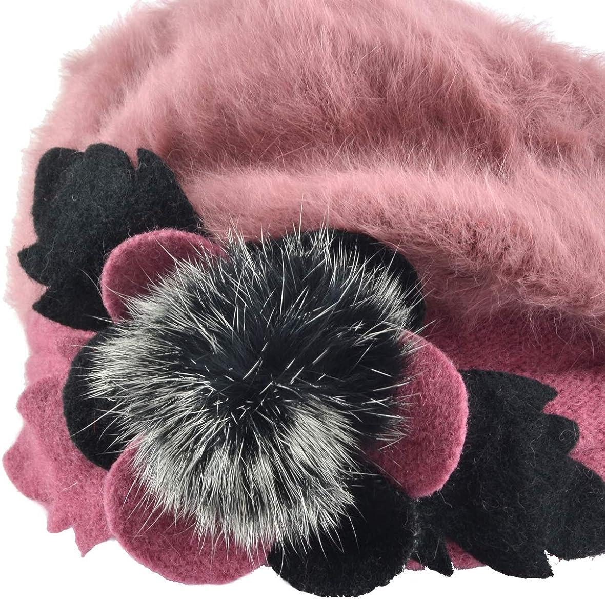 Ruphedy Baskenm/ütze Damen Schicke Wolle Barette M/ütze Winterm/ütze HY022