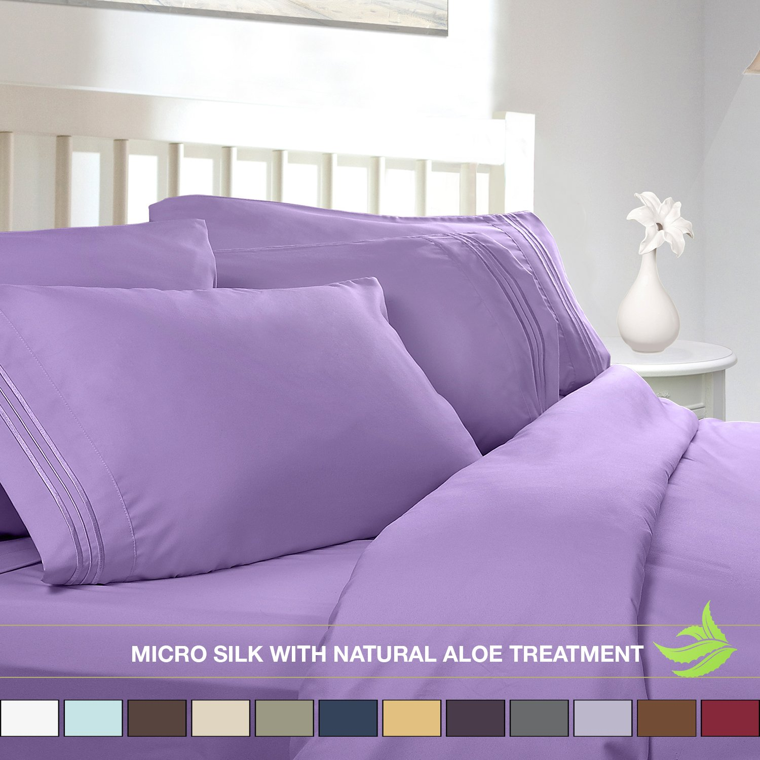 amazoncom luxury bed sheet set soft micro silk sheets queen size lilac lavender with pure natural aloe vera skin soothing treatment