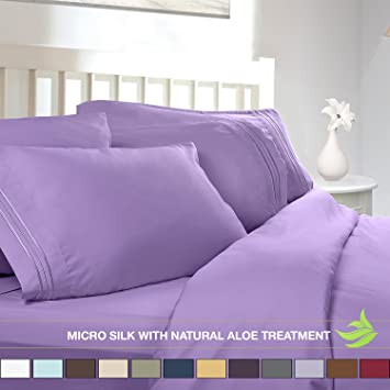 Luxury Bed Sheet Set   Soft MICRO SILK Sheets   Queen Size, Lilac Lavender
