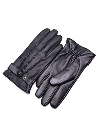 2eaf60ba17d9f YISEVEN Men's Winter Genuine Lambskin Leather Gloves Three Points Fleece  Lined Tight Driving Warm Fur Cuffs
