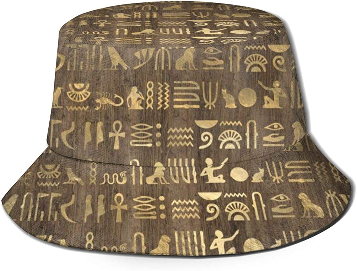 CheXe Unisex-Adult Fisherman Hat Brown Gold Ancient Egyptian Hieroglyphic Bucket Hat