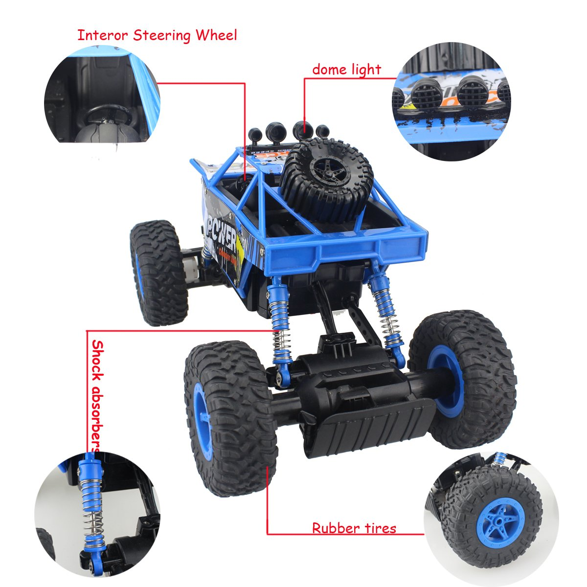 Fisca RC Car Remote Control Rock Crawler High Speed 4WD Off-Road Vehicle, 2.4Ghz 1:18 Dune Buggy Monster Truck Electric Hobby Fast Race Car with Rechargeable Battery Blue