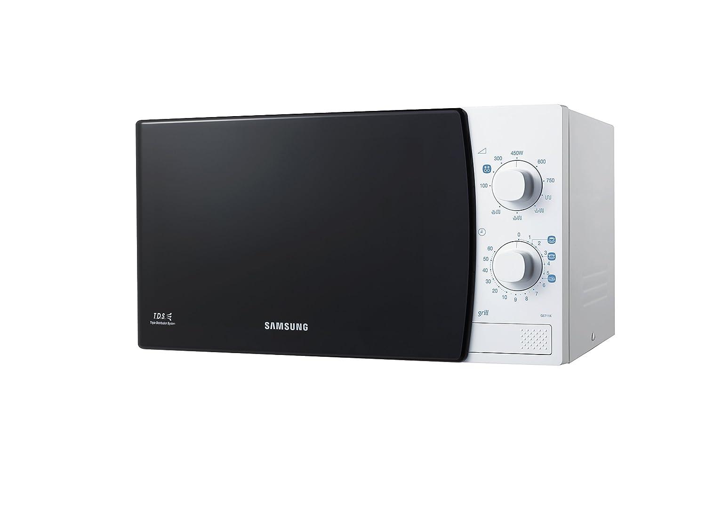 Samsung GE711K Microondas con grill de 20 L, interior de cerámica, 1100 W, 20 litros, Negro y blanco