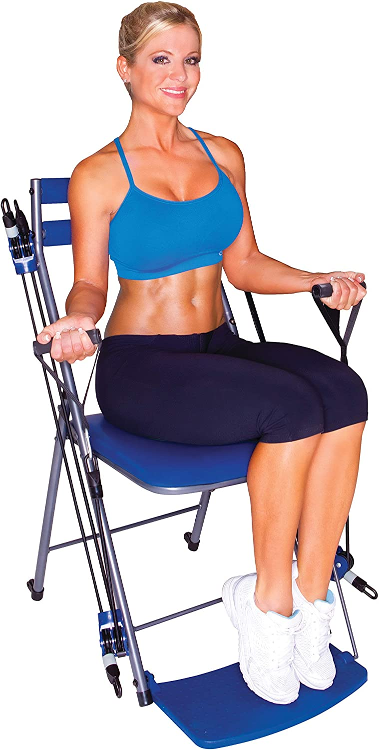 Chair Gym - The Total Body Workout – All in One Compact, Portable and Easy to Use At Home Exercise System, Includes 5 Instructional DVDs, Workout Guide, Meal Plan, Bands with 3 Levels of Resistance + Bonus Twister Seat Ab Attachment, As Seen on TV - Blue