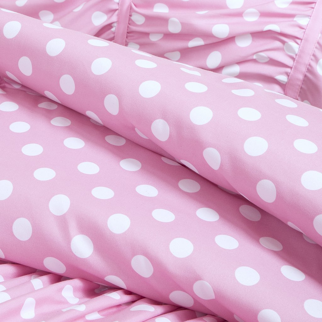 Pink and white polka dot bedding - Amazon Com Mizone Lia 4 Piece Comforter Set Pink Full Queen Home Kitchen