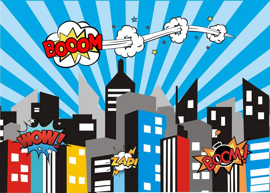 AIIKES 2.4x1.8M//8x6FT Comic City B/éb/é Super H/éros Les enfants Fond de Photographie Personnalis/é Toile de fond Photographique Prop Pour Studio de Photographie 11-047