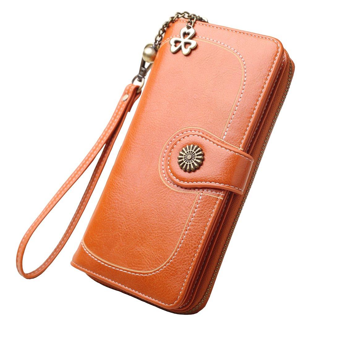 Women's Credit Card Holder RFID Blocking Zipper Wallet,Large Capacity Wax Purse,Orange