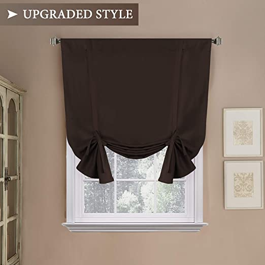 LivebyCare 1 Panel Multi Colors Blackout Roman Shades Thermal Noise Insulated Tie Up Rod Pocket Small Window Curtains Treatments for Meeting Rest Room