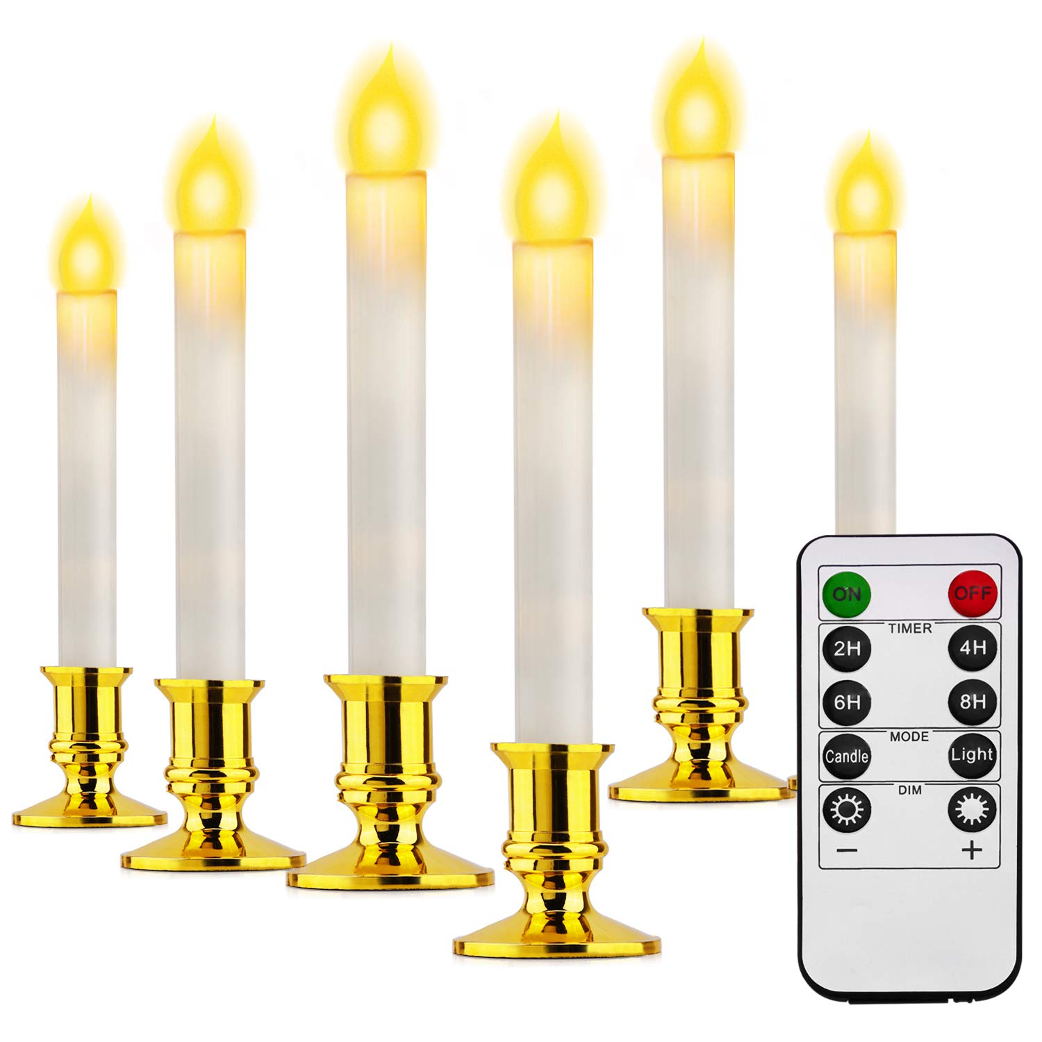 TURN RAISE Decorative Flameless Candles White Taper LED Window Candles with Timer and Remote Control Battery Operated Candles for Seasonal Festival Celebration Batteries not Included Set of 6