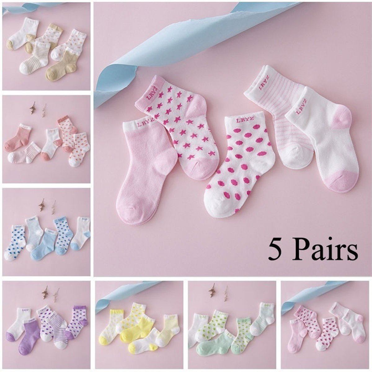 Watermelon Red LUOEM 5 Pairs of Unisex Baby Newborn Cotton Socks for 0-1 Year Old
