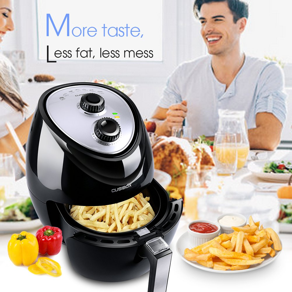 Air Fryer, CUSIBOX Multi-function Electric Air Fryer, 3.6L (3.8QT.) 1400W with Programmable Timer and Temperature Control,Oil-Less Low Fat Fryer
