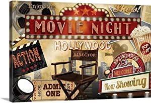 Movie Night Canvas Wall Art Print, 36