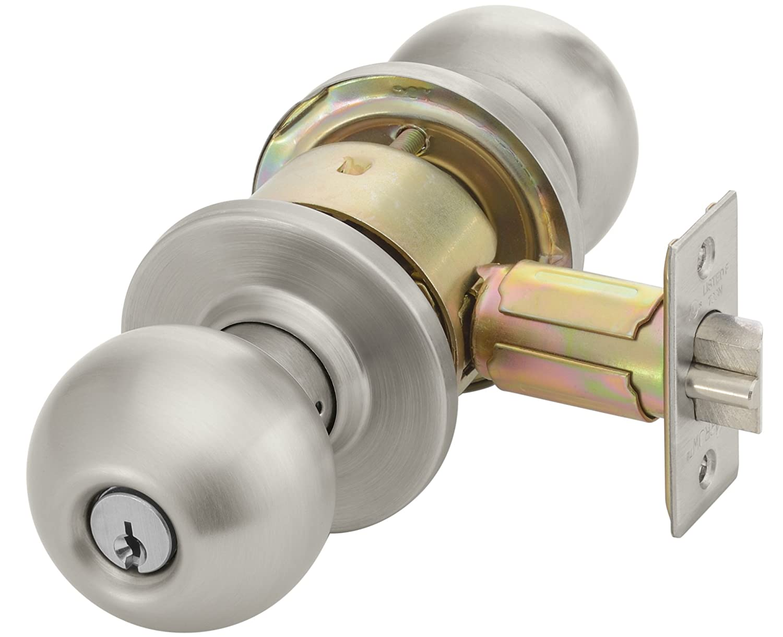 6 Pin Yale AU4607 LN626 1806 KR Cylindrical Lockset 2 3//4 Backset Grade 2 Para Keyway 626 Satin Chrome Finish Entrance Function Keyed Random