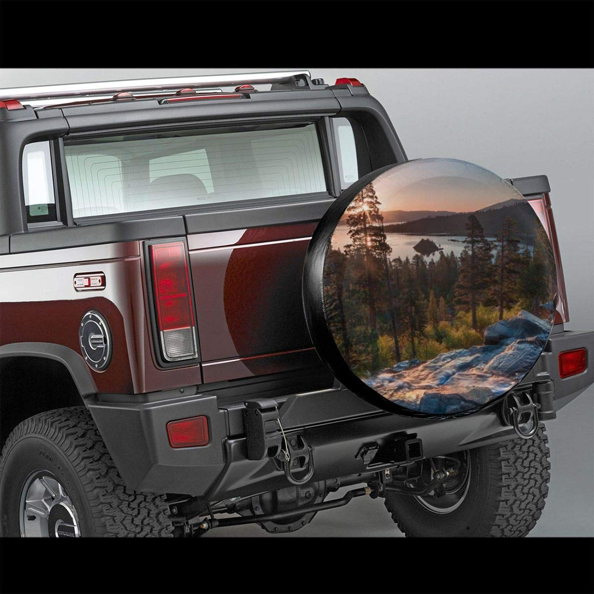 Idyllic American Landscape Waterfall Into The Forest Traveling Theme Romantic Wheel Cover with PVC Leather Waterproof Dust-Proof Fit for Jeep Belleeer Cubierta DE LA Rueda