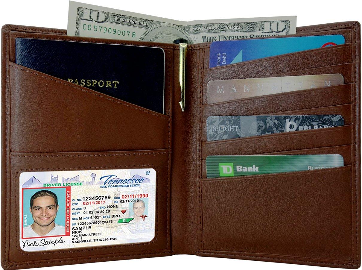 AurDo RFID Blocking Real Leather Passport Holder Cover Case & Travel Wallet for Men & Women (Cognac)