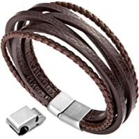 xikeo Leather Bracelet for Men, Mens Leather Bracelet Cowhide Braided Multi-Layer Wrap Mens Bracelet, 8.7''